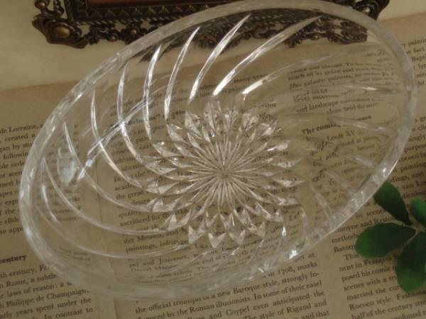 古いガラス製のデザートフルーツ皿*サラダ*プリンアラモード楕円_画像2