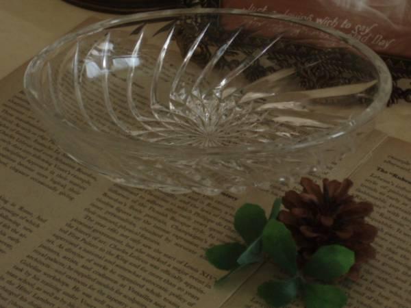 古いガラス製のデザートフルーツ皿*サラダ*プリンアラモード楕円