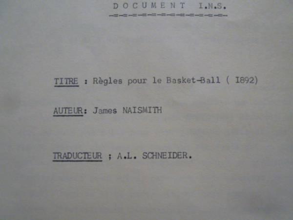 歴史的文書【バスケットボールルール仏語版1892年】ネイスミス著 ヨーロッパに初めて普及したフランスの超稀珍品なバスケットボールルール_表紙、1892年の表記