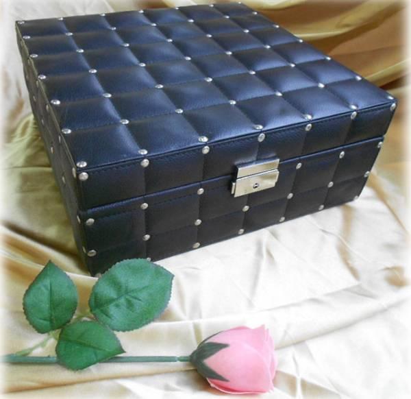 黒い合皮のジュエリーボックス アクセサリーボックス 飾り箱 L_黒い合皮のジュエリーボックス
