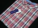 新品[KANSAI JEANS]麻混半袖カジュアルシャツ5L薄赤チェック