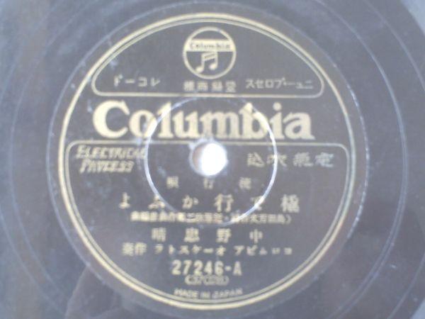 戦前SP盤【流行歌 橇で行かふよ/中野忠晴】日本コロムビア_画像1