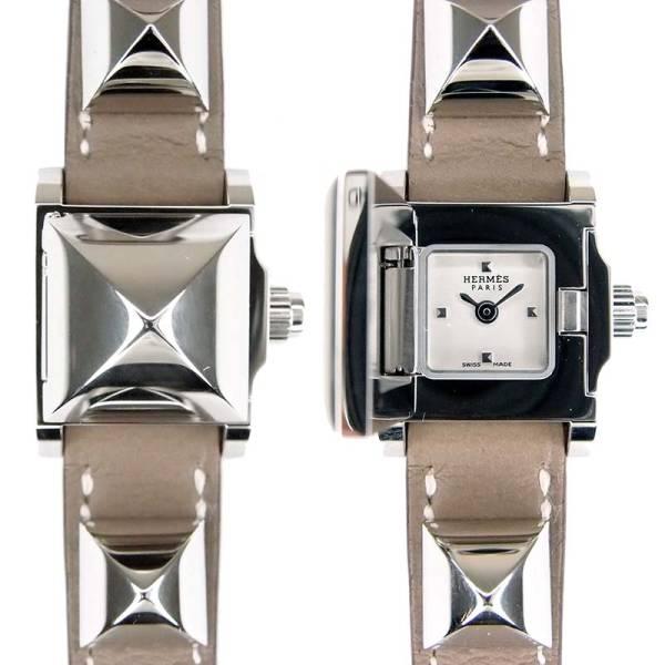 未使用 エルメス HERMES ミニメドール ブレスレット レディース 腕時計 クォーツ ME2.110 シルバー エトゥープ レザー 2015年製 保証書付