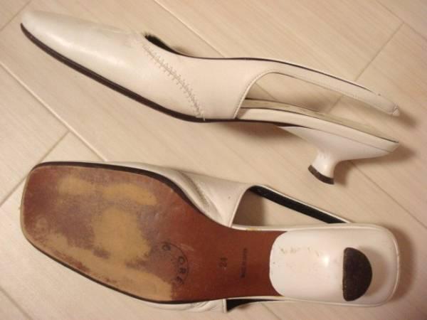 ● GRECO グレコ JAPAN 日本製 ★ ホワイト 白 皮革 レザー ゴム式 パンプスヒール つっかけ サンダル型 24.0cm Lサイズ 37 定形外発送可能_画像3