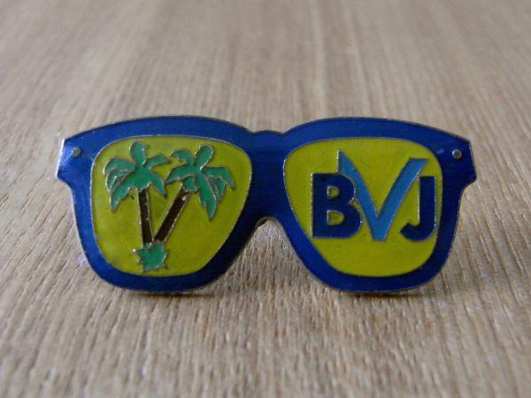 古いピンバッジ:青い眼鏡 ヤシの木 サングラス その他 ピンズ #M_画像1