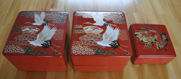 正月 おせち料理 重箱 弁当箱 鶴 扇 寿 祝 プレゼント_2重箱 / 2重箱 / 1重箱