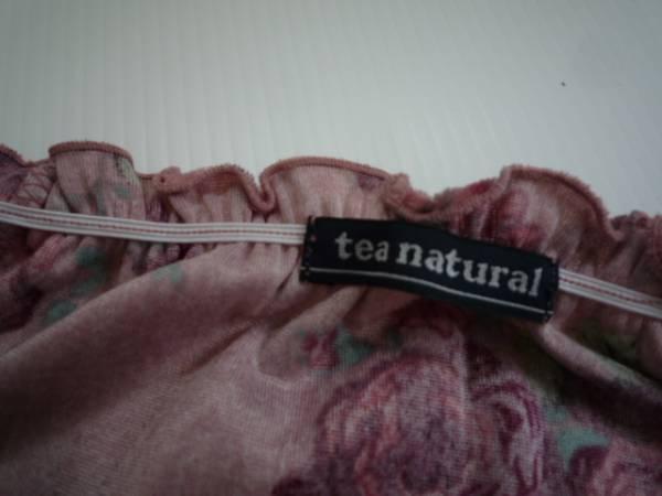 【良品!!】★tea natural★花柄カットソー ピンク 長袖 L ベロア_画像3