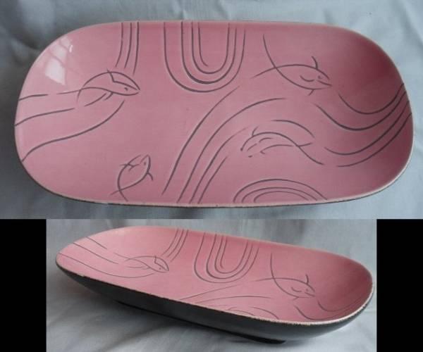 50's ピンク色のさかな・魚柄の皿 ビンテージ ロカビリー アトミック