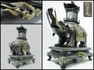 特大 高岡銅器■金銀彩色 象塔香炉 十二支■象嵌 松雲造 象炉