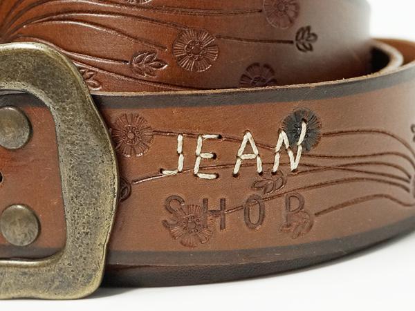 新品【JEAN SHOP】ジーンショップレザーフラワーベルトMサイズ/Made in ITALY_画像2