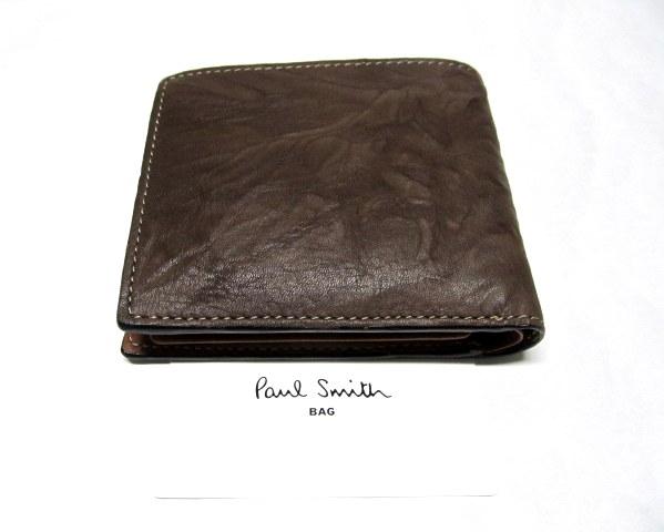 新品/箱有ポールスミスPaulSmith 二つ折り財布 牛革羊革ブラウン_画像2