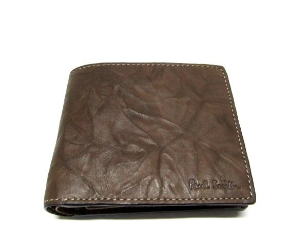 新品/箱有ポールスミスPaulSmith 二つ折り財布 牛革羊革ブラウン_画像1