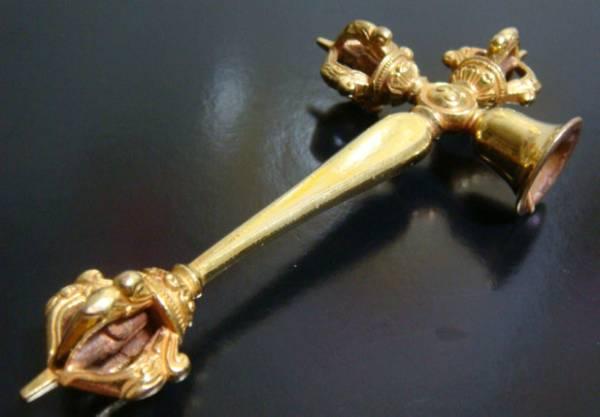 ◆チベット密教法具 プルパ(ガンター) ◆53ゴールド