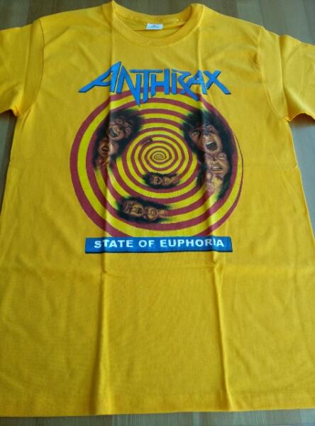 Anthrax Tシャツ state of euphoria 黄M バックプリント有
