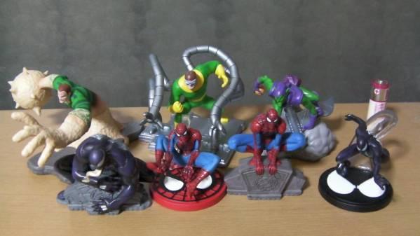 スパイダーマン ミニフィギュア7体セット ベノム サンドマン グリーンゴブリン ドクターオクトパス ブラックスパイダーマン グッズの画像
