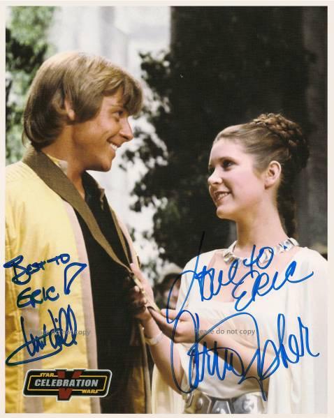 1977年 Star Wars Mark Hamill Carrie Fisher サイン フォト