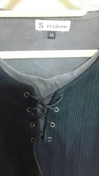 半そでTシャツ黒 首紐つきLLサイズ お兄系_画像2