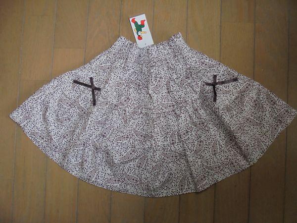 新品★ペアレンツドリーム★茶色の花柄かわい上品スカート★100_画像1