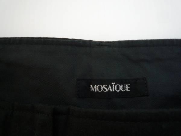 【良品】 ◆ モードエジャコモ / MOSAiQUE ◆ カラーパンツ 黒 9 無地_画像3