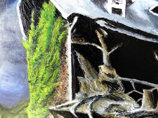 値下げ ★魔女と古い洋館★満月黒猫/油絵/肉筆/縦110cm/二次創作/同人 ファン製作品 コレクターアイテム 【検 魔女宅 魔女の宅急便_画像3