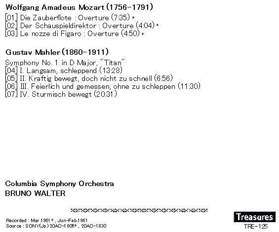 ..[即決/新品]tr125*ワルター/マーラー:交響曲第1番巨人&モーツァルト(マックルーア版)*板起こしCD-R_画像2