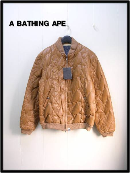 M 【A BATHING APE BAPE エイプ スター柄キルティングレザーダウンジャケット】_画像1