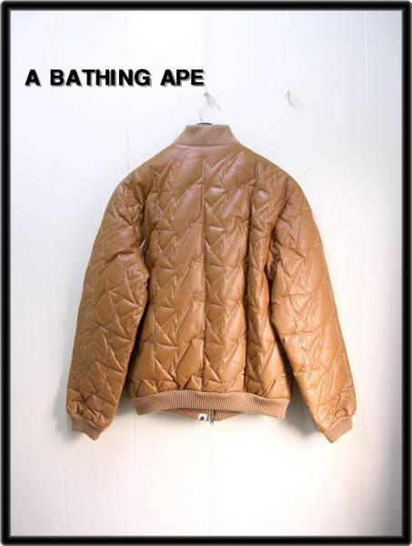 M 【A BATHING APE BAPE エイプ スター柄キルティングレザーダウンジャケット】_画像2
