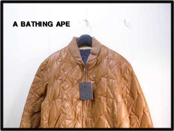 M 【A BATHING APE BAPE エイプ スター柄キルティングレザーダウンジャケット】_画像3