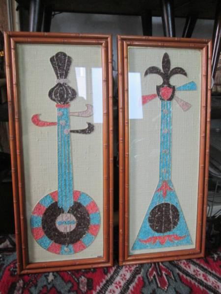 50's 楽器の壁掛け2個set USAアメリカアンティーク ミッドセンチュリー/カリフォルニア西海岸ハワイアロハ店舗ロカビリーア _画像1