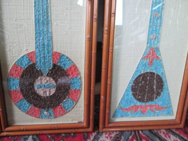 50's 楽器の壁掛け2個set USAアメリカアンティーク ミッドセンチュリー/カリフォルニア西海岸ハワイアロハ店舗ロカビリーア _画像2