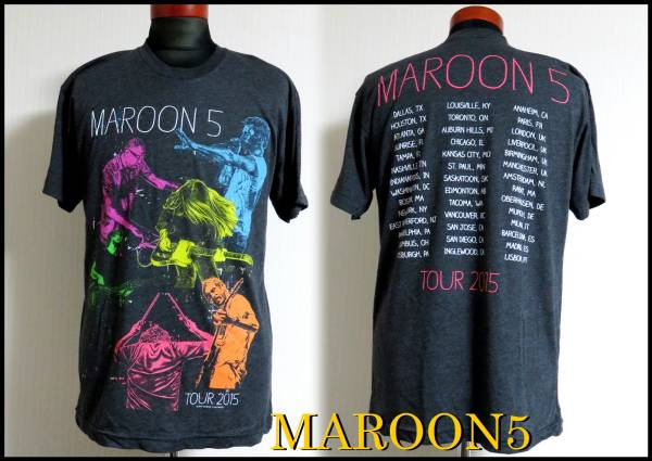 MAROON5 WORLD TOUR2015 Tシャツ マルーン5 マドンナ グレー M バンドT ピンク 黄色 水色 古着