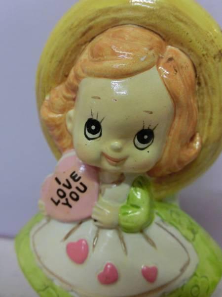 ビンテージ メッセージドール 女の子 キャンディハーツ◆昭和レトロ アンティーク 人形 陶器 置物 日本製 ファンシー Vintage Figure_画像2