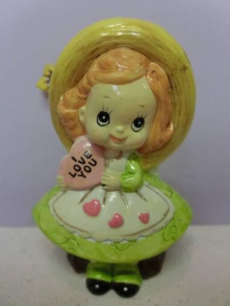ビンテージ メッセージドール 女の子 キャンディハーツ◆昭和レトロ アンティーク 人形 陶器 置物 日本製 ファンシー Vintage Figure_画像1