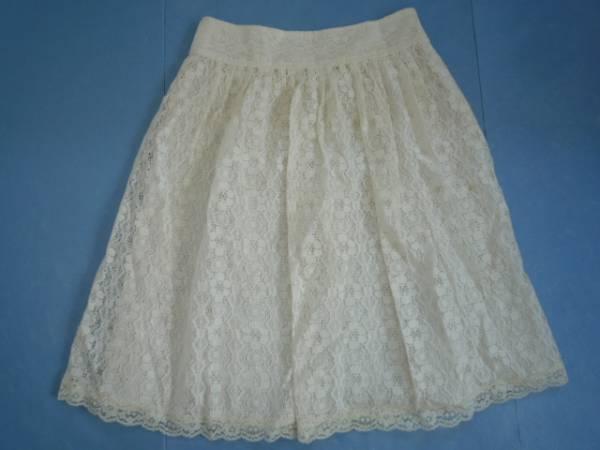 【お買い得!】 ◆ L'EST ROSE ◆ レーススカート オフホワイト 膝丈 2_画像1