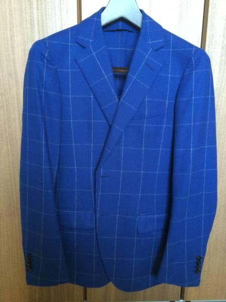 即決 新品同様 トゥモローランド ジャケット カルロバルベラ クリームフランネル ネイビー ブルー 紺 青 フランネル チェック 44_画像1