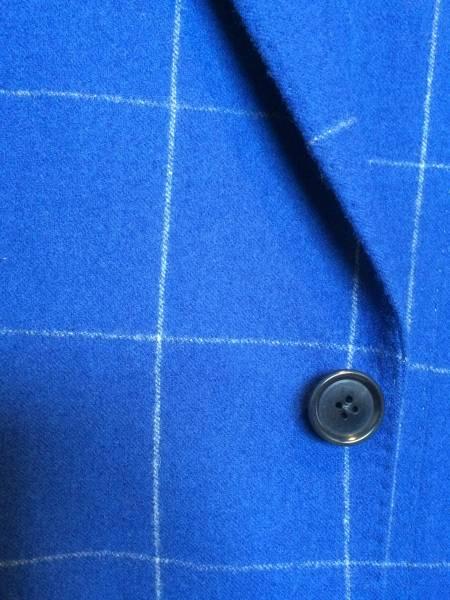 即決 新品同様 トゥモローランド ジャケット カルロバルベラ クリームフランネル ネイビー ブルー 紺 青 フランネル チェック 44_画像2