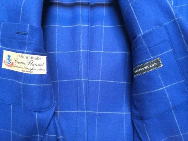 即決 新品同様 トゥモローランド ジャケット カルロバルベラ クリームフランネル ネイビー ブルー 紺 青 フランネル チェック 44_画像3