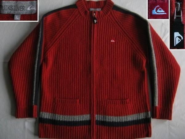 ★古着 美品 QUIKSILVER クイックシルバー フルジップ 厚手 ニットカーディガン セータージャケット L 赤★