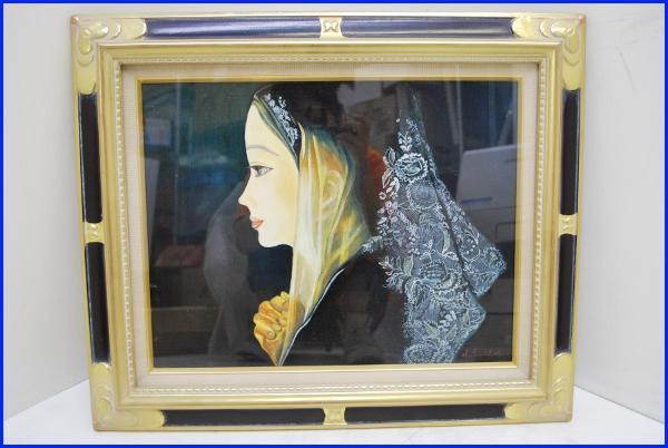 真作絵画 人物画・女性肖像画 『祈り』岩苔聖峰 額・箱付き F6号