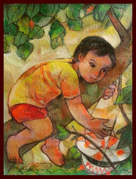 ☆油彩画 フィリピンの著名画家 遊びに夢中 「木登り」