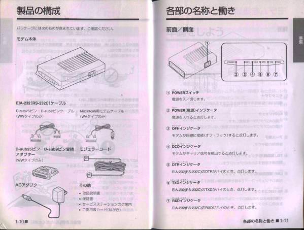 【AIWA】外部モデムPV-BW2881の取扱説明書_本文より