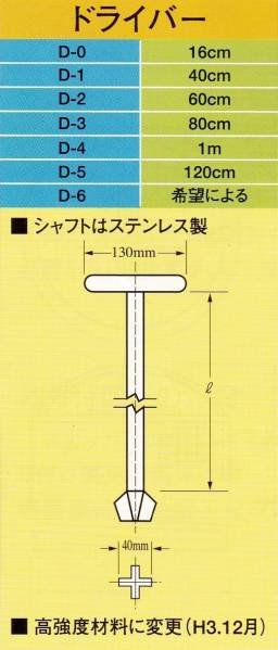 イケダ式スカッパー ステンレス製ドライバー 1m「D-4」_画像1