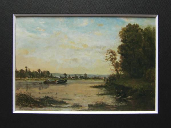 ドービニー、オワーズ河の夏の朝、希少大判画集画、新品額装付_画像3