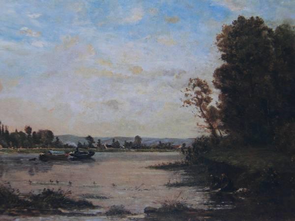ドービニー、オワーズ河の夏の朝、希少大判画集画、新品額装付_画像1