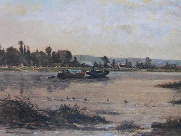 ドービニー、オワーズ河の夏の朝、希少大判画集画、新品額装付_画像2