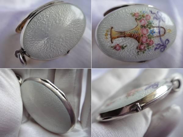 即決★イギリスアンティーク シルバー 銀製★美しい花籠模様のエナメルロケット 美品_画像2