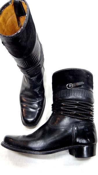ビンテージ 50S レア デザイン 希少 ハラコ 仕様 レザー ロング アコーディオン ブーツ 黒 ブラック 珍品 ロカビリー サイズ 11 ハーフ_画像2