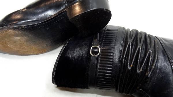 ビンテージ 50S レア デザイン 希少 ハラコ 仕様 レザー ロング アコーディオン ブーツ 黒 ブラック 珍品 ロカビリー サイズ 11 ハーフ_画像3