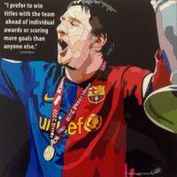 サッカー アートパネル■メッシ FCバルセロナ C■木製 ポスター