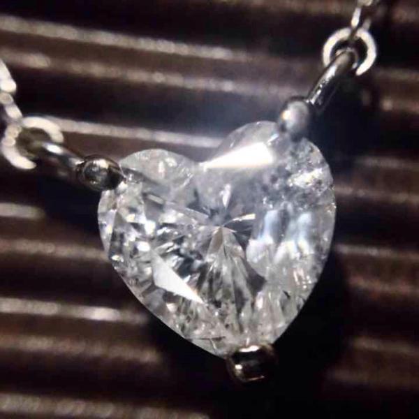 大粒ハートシェイプダイヤモンド0.5ctのPTネックレス_画像1